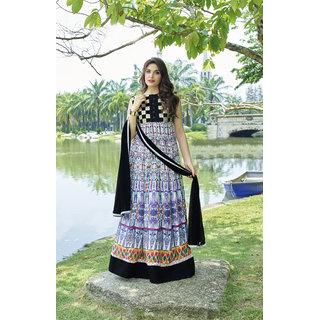 Womaniya Online  Black  Multi Printed Cotton Anarkali Suit