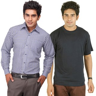 D&Y Exclusive Combo Of Formal Shirt And Round Neck T-shirt(SHT100)