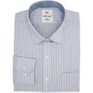 Midline Plus Men's Formal Slim Fit Striped Shirt - Pale Blue - Medium