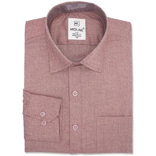 Midline Plus Men's Formal Slim Fit Plain Shirt - Red - Medium