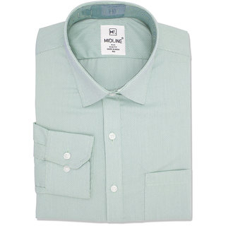 Midline Plus Men's Formal Slim Fit Micro-dot Shirt - Green - Medium