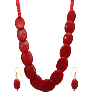 Beadside by JewelMaze Red Beads Gold Plated Zinc Alloy Necklace Set-FAA0494