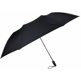 Fendo 2 Fold Big Rain Black Silver Umbrella For Gents