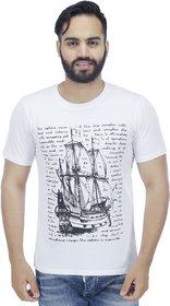 Christy World White Round Neck Long Sleeve T-shirt for Men