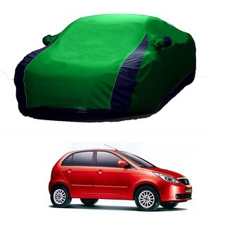 SpeedGlorY All Weather  Car Cover For Tata Indica (Designer Green  Blue )