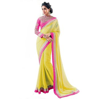 Sareeka Sarees Yellow Chiffon Embroidered Saree With Blouse