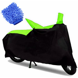 RWT Two Wheeler Cover(Black,Green) With Microfiber Glove Bajaj Avenger 150 Street