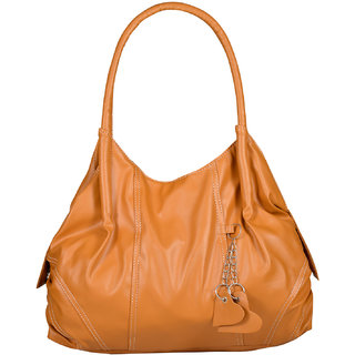 Fostelo Tan Self Design Handbag