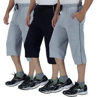 Christy World Multicolor 100% Cotton 3/4 Track Pant for Men
