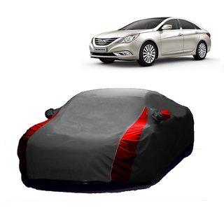 DrivingAID Car Cover For Hyundai Verna Fluidic (Designer Grey  Red )