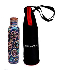 Rastogi Handicrafts Pure Copper Water Bottle For (Joint Free Amp Leak Proof) Hand Painted Art Work , With A Insulated Bag