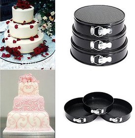 Teflon 3 in 1 Round Steel Cake Mould