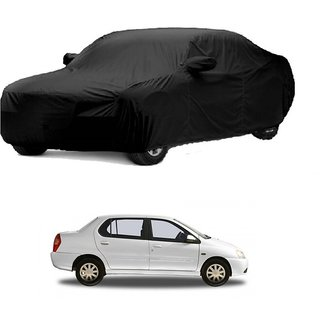 Bull Rider Water Resistant  Car Cover For Mahindra Jeep (Black With Mirror )