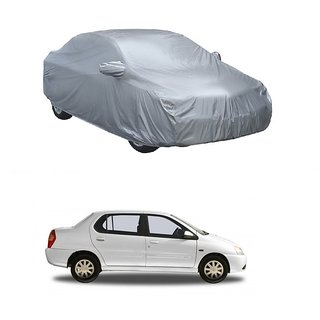 Bull Rider Water Resistant  Car Cover For Mahindra Jeep (Silver With Mirror )