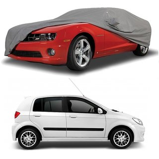 Bull Rider Water Resistant  Car Cover For Hyundai Grand I10 (Grey With Mirror )