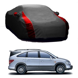 Bull Rider Water Resistant  Car Cover For Tata Sonata (Designer Grey  Red )