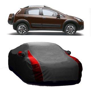Bull Rider Water Resistant  Car Cover For Fiat Avventura (Designer Grey  Red )