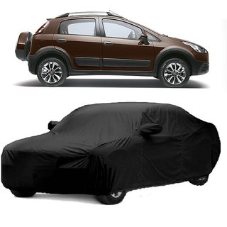 RideZ Water Resistant  Car Cover For Fiat Aventura (Black With Mirror )
