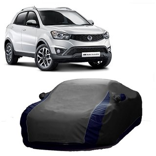 Bull Rider Water Resistant  Car Cover For Fiat Linea Classic (Designer Grey  Blue )
