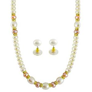 Kimi& Colored Single String South Sea Shell (6 10 Mm) Pearls Necklace Set