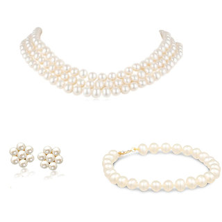 Triple Line Choker Hyderabadi Pearls Pearls Necklace Flower Earrings & Bracelet