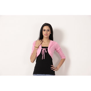 Teemoods Stylish Short Shrug Pink