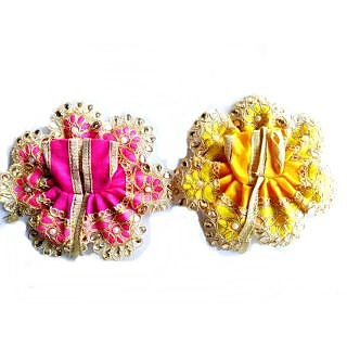 Laddu Gopal Dress Desginer Lace  Stone Work Poshak ( 0 No.) - 2 Pcs