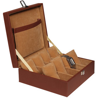 Leather World Brown High Quality PU Leather Watch Box Case for 8 Watches
