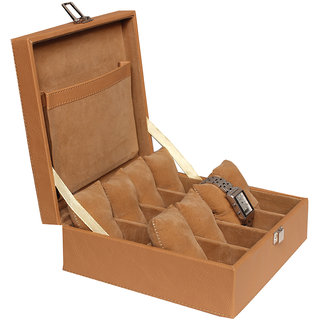 Leather World Tan High Quality PU Leather Watch Box Case for 8 Watches