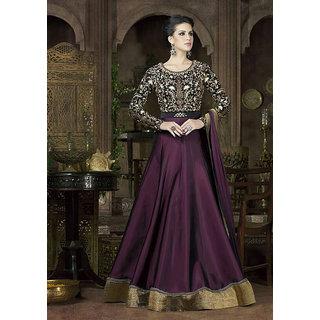 Womaniya Online  Purple  Black Embroidered Tapeta Silk Anarkali Suit