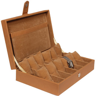 Leather World Tan High Quality PU Leather watch box for 12 Watches