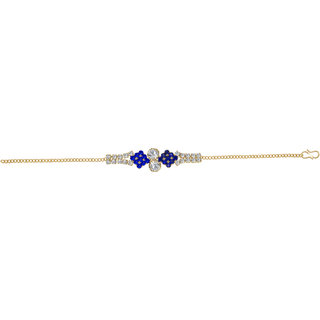 The99Jewel by JewelMaze Blue Austrian Stone Zinc Alloy Gold Plated Adjustable Bracelet-FAB0079