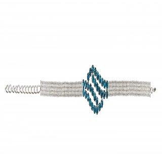 The99Jewel by JewelMaze Zinc Alloy Silver Plated Blue Austrian Stone Adjustable Bracelet-FAB0081