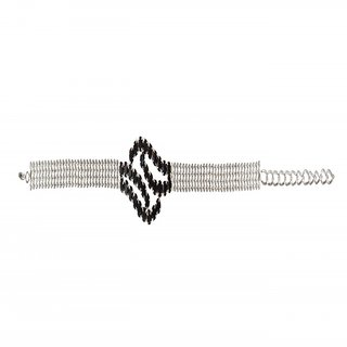 The99Jewel by JewelMaze Black Austrian Stone Silver Plated Zinc Alloy Adjustable Bracelet-FAB0082
