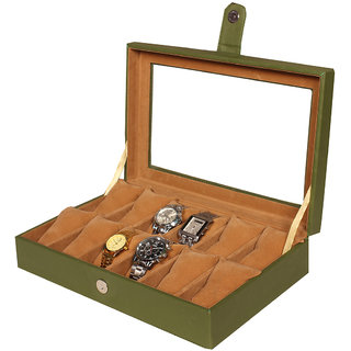 Leather World Green PU Leather watch box cushion for 12 Watches
