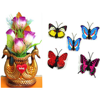 Combo of Fancy Peacock Pot and 5 Pcs. 3D Butterfly Wall Stickers