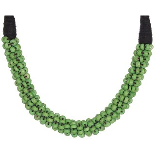Choker style green colored necklace for women with small Beads