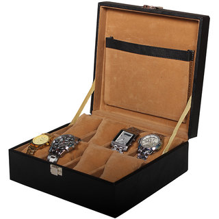 8e7ce8bef Buy Leather World Black High Quality PU Leather Watch Box Case for 8 Watches  Online - Get 50% Off
