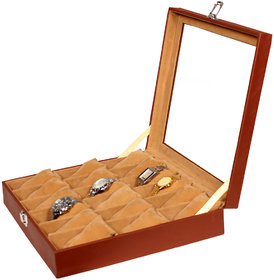 Leather World Brown PU Leather Watch Box Case for 18 Watches
