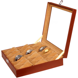 90d0afa5e Buy Leather World Brown PU Leather Watch Box Case for 18 Watches Online -  Get 50% Off