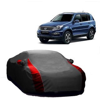 SpeedRo Water Resistant  Car Cover For Mahindra Scorpio (Designer Grey  Red )