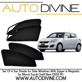 MARUTI SUZUKI SWIFT NEW, Car Accessories Side Window Zipper Magnetic Sun  Shade, Set of 4 Curtains