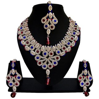 Jewels Capital Exclusive Blue Pink White Necklace Set /S 1392