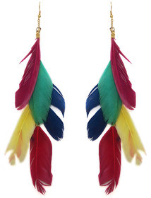 The99Jewel by JewelMaze Multicolour Feather Gold Plated Dangler Earrings-FAC0376