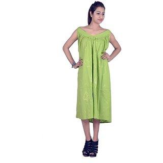 9ac355396b78 Buy Indicot Green Cotton Women Designer Long Dress Online - Get 65% Off