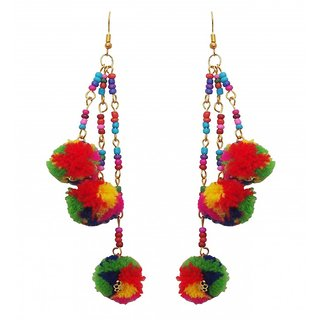 The99Jewel by JewelMaze Gold Plated Multicolour Beads Thread Hook Dangler Tesserl Earrings-FAC0279