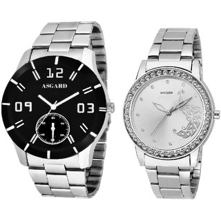 Asgard Silver Chain Combo of Watches For Mens  Womens