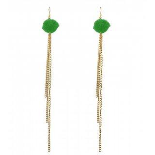 The99Jewel by JewelMaze Gold Plated Zinc Alloy Green Thread Tessel Earrings-FAC0290