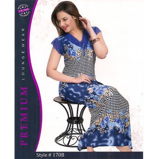 bda7bd88a1 Womens Printed Floral Checks 1pc Blue Nighty Daily Night Gown Slip Lounge  wear Gift 170B Bed