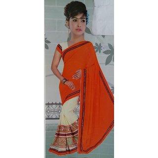 Kutchhi work double shade saree